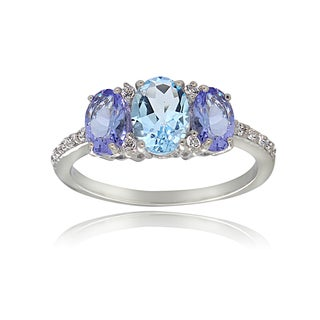 Glitzy Rocks Sterling Silver White Topaz Aquamarine and Tanzanite 3-Stone Ring