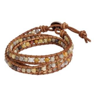 Handcrafted Leather 'Inner Balance' Jasper Wrap Bracelet (Thailand)