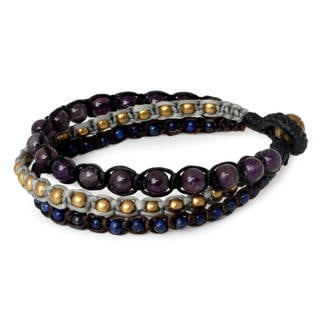 Brass 'Urban Colors' Amethyst Lapis Lazuli Bracelet (Thailand)