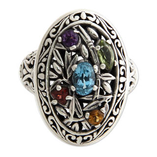 Sterling Silver 'Bamboo Blossoms' Multi-gemstone Ring (Indonesia)