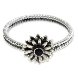 Sterling Silver 'September Aster' Sapphire Ring (Indonesia)