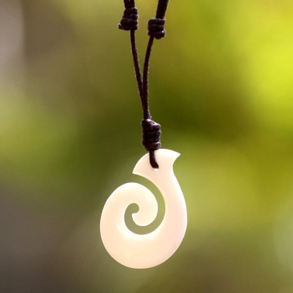 Handcrafted Cow Bone 'Hook Me Up' Cotton Necklace (Indonesia)