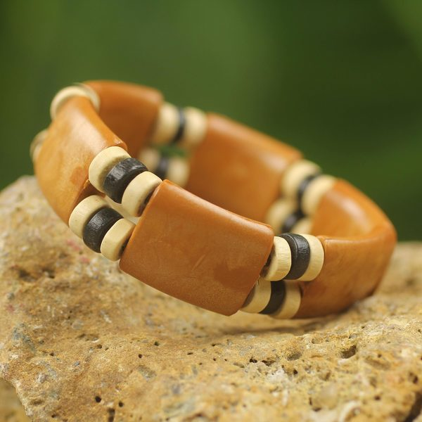 Sese Wood and Recycled Plastic 'Butterscotch' Bracelet (Ghana) 14954835