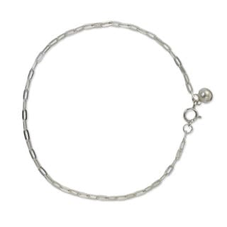 Handcrafted Sterling Silver 'Simple Joy' Anklet (Thailand)