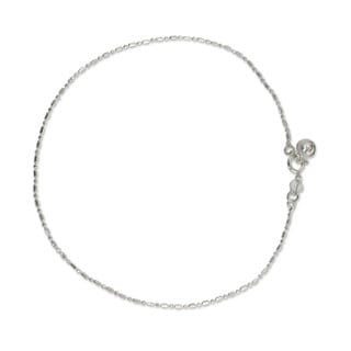 Handcrafted Sterling Silver 'Simple Happiness' Anklet (Thailand)