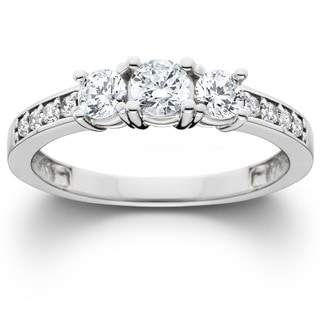 Bliss 14k White Gold 1ct TDW Diamond 3-stone Engagement Ring (J-K, I2-I3)