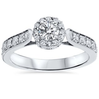 Bliss 14k White Gold 7/8ct TDW Halo Diamond Engagement Ring (H-I, I2-I3)