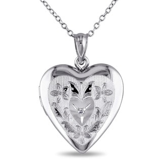 Haylee Jewels Sterling Silver Diamond Accent Heart Locket Necklace