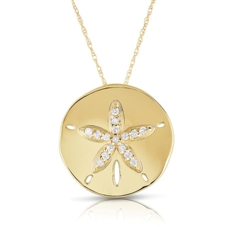 Eloquence 10k Gold 1/6ct TDW Diamond Sand Dollar Fashion Pendant (H-I I2-I3)