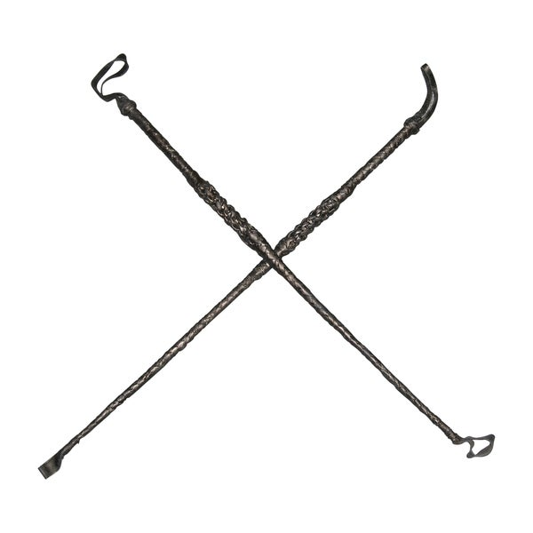 Black Leather Riding Crops (Set of 2)