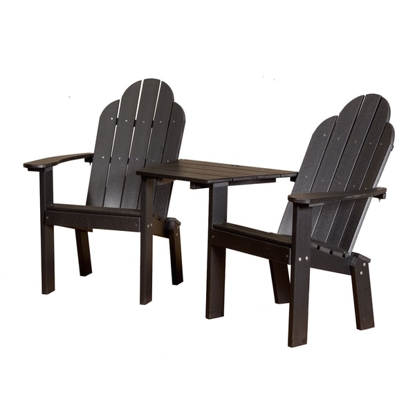 Somette Terra Black Poly Lumber Tete a Tete Deck Chair