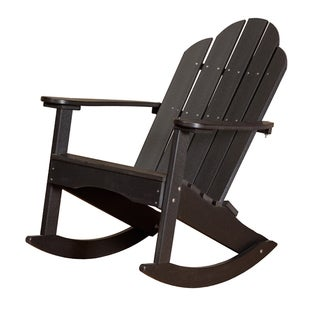 Somette Terra Black Poly Lumber Outdoor Adirondack Rocker
