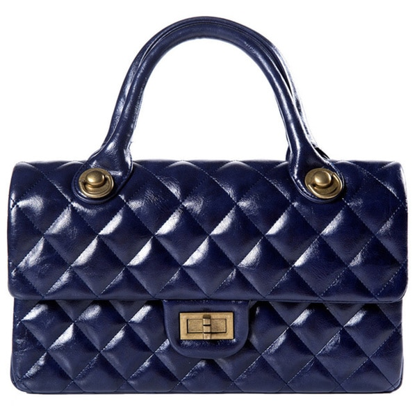 Quilted Navy Faux Leather Fold-over Top Handbag
