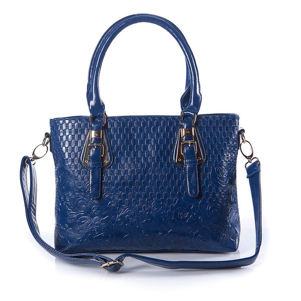 Quilted Navy Faux Leather Tote