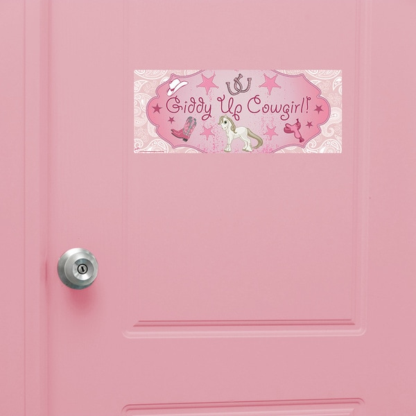 Pink Cowgirl Peel and Stick Door Sign 14955460