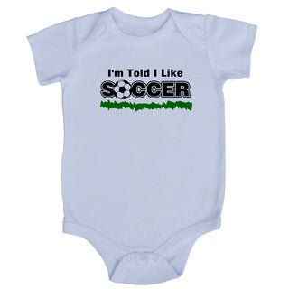 Rocket Bug White Cotton 'I'm Told I Like Soccer' Baby Bodysuit
