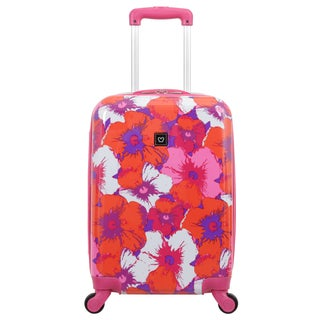 French West Indies 20-inch Carry On Hardside Spinner Upright Flower Suitcase