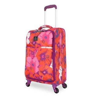 French West Indies 20-inch Carry-On Spinner Upright Flower Suitcase