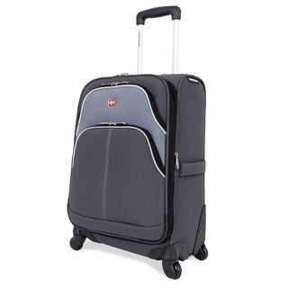 SwissGear 20-inch Carry On Pilot Case Spinner Upright Grey/ Silver Suitcase