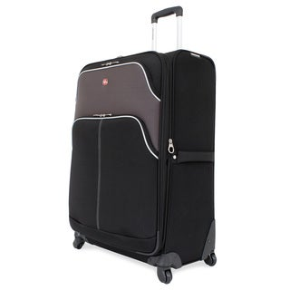 SwissGear 28-inch Large Spinner Upright Black/ Grey Suitcase