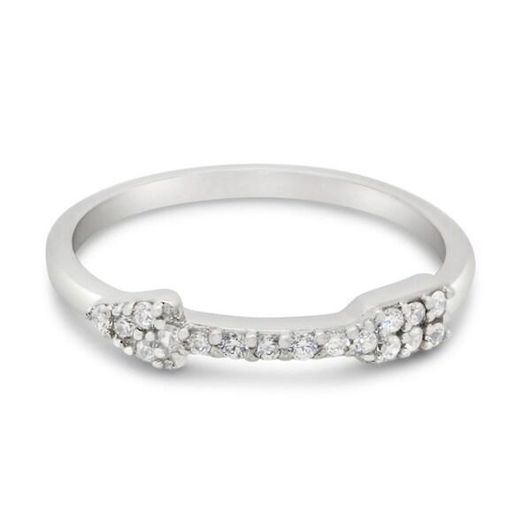 Sterling Silver Cubic Zirconia Encrusted Arrow Ring