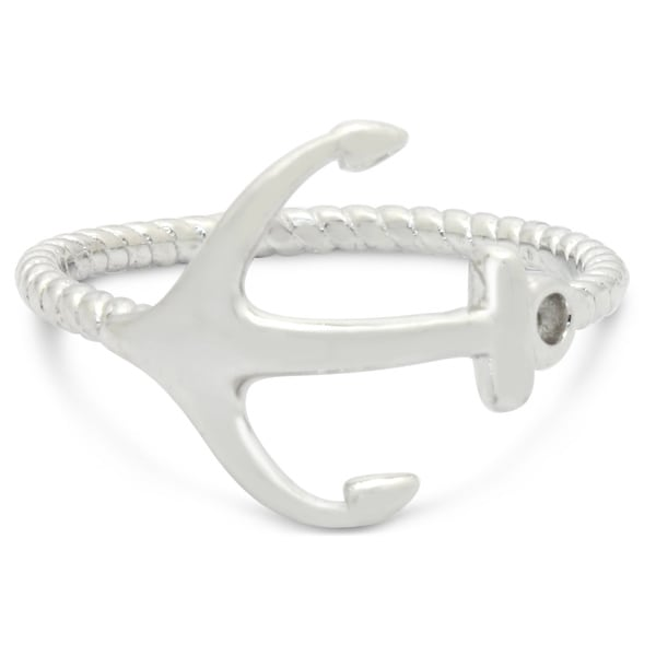 Sterling Silver Twisted Rope and Anchor Ring