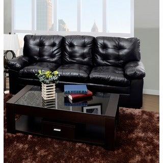 Chocolate Tufted Faux Leather Sofa