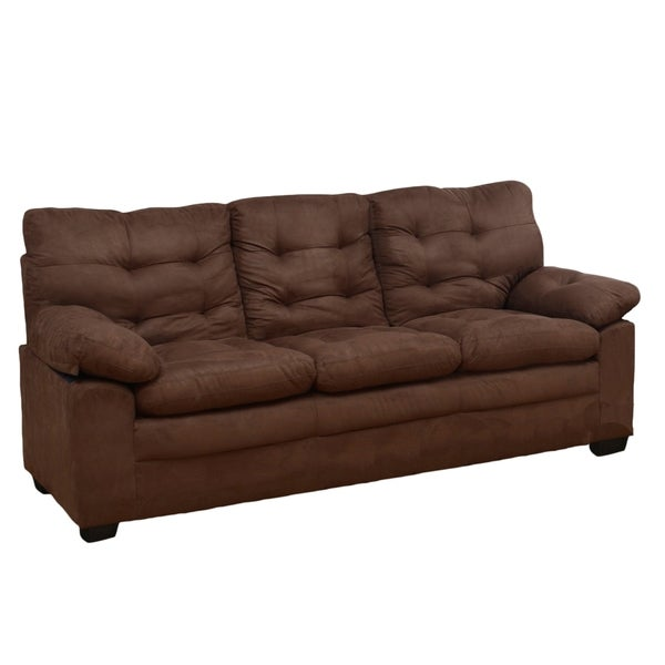 Chocolate microfiber tufted sofa 17085988 shopping great deals on sofas Brown microfiber couch and loveseat