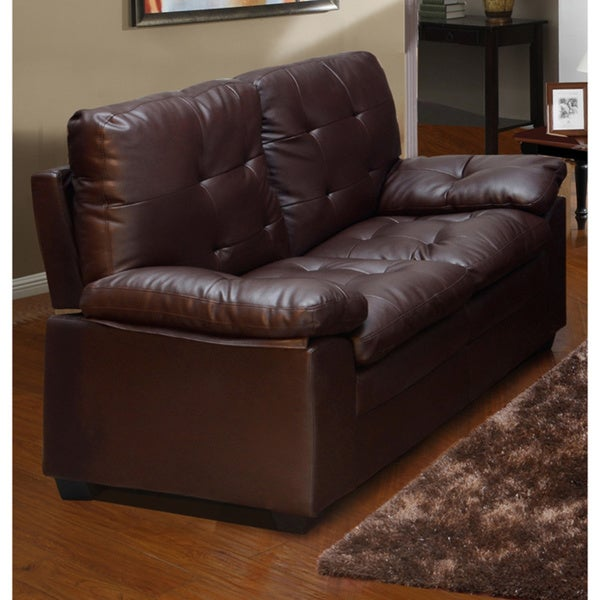 Medium Brown Tufted Faux Leather Love Seat