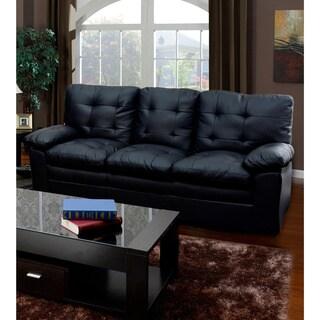 Black Tufted Faux Leather Sofa