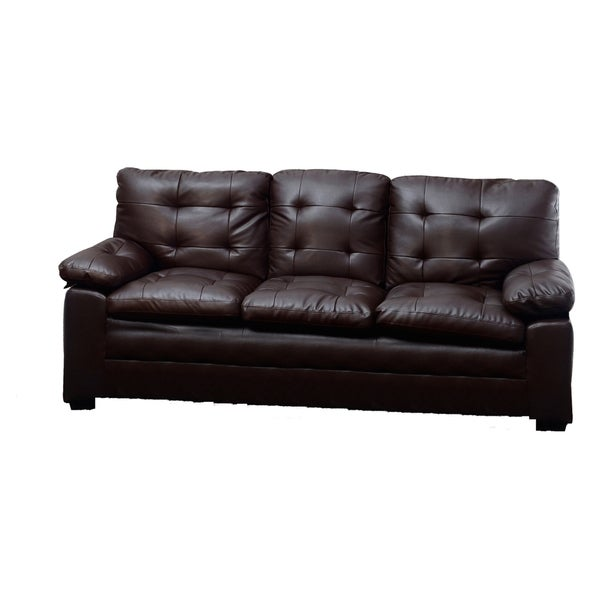 Medium Brown Tufted Faux Leather Sofa Overstock Shopping Great Deals On Sofas Loveseats