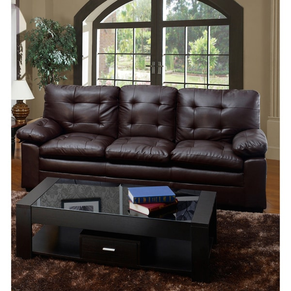 Medium Brown Tufted Faux Leather Sofa