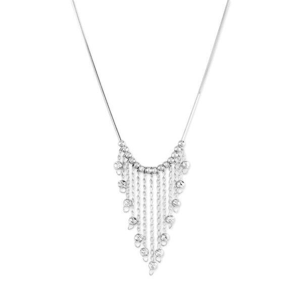 La Preciosa Sterling Silver Diamond-cut Fringe Bead Necklace