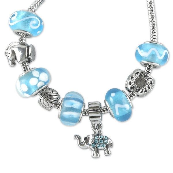 La Preciosa Silvertone and Blue Beads Good Luck Elephant Charm Bracelet