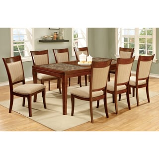 Furniture of America Darlene 9-Piece Dark Oak 78-inch Dining Set