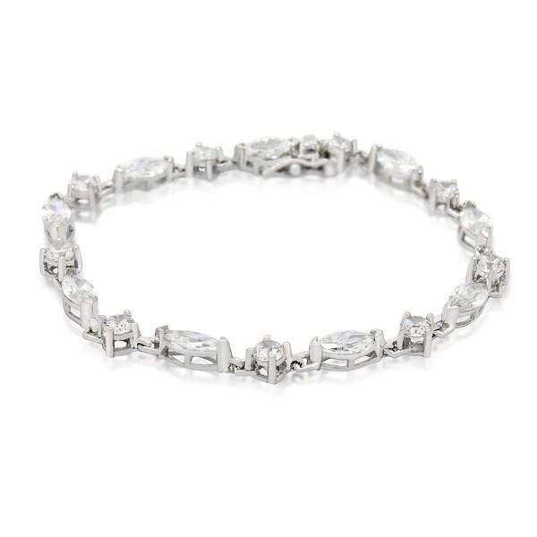 Gioelli Rhodium-plated Multi-shape Cubic Zirconia Link Tennis Bracelet