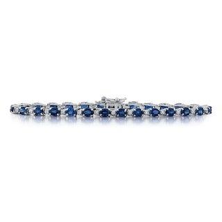 14Kt white gold Sapphire Diamond bracelet