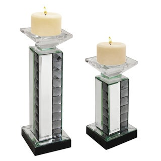 Mirrored Pillar Candle Holder (Set of 2)