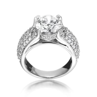 SummerRose 18k White Gold Pave 4 1/4ct TDW Solitaire Diamond Engagement Ring (L-M, SI1-SI2)