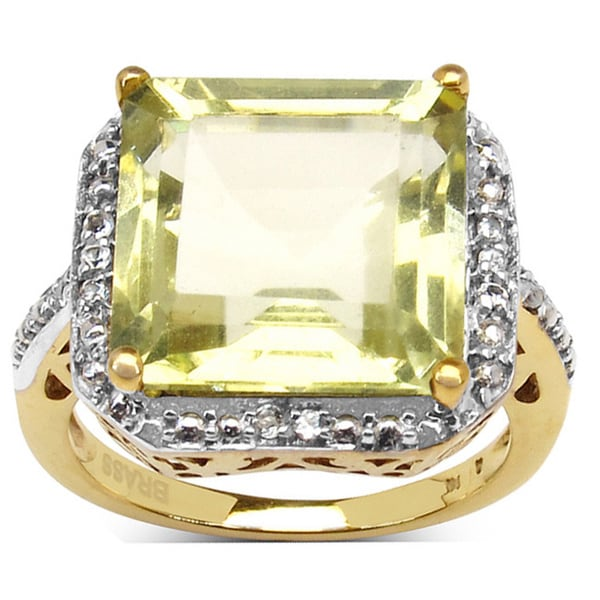 14k Goldplated Lemon Quartz White Topaz Ring