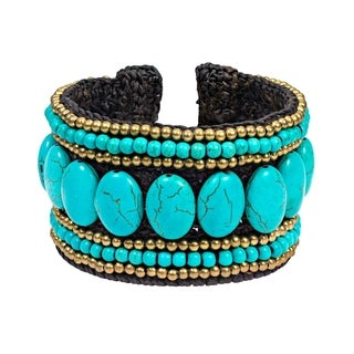 Oval Unity Turquoise and Brass Tribal Wide Adjustable Cuff (Thailand)