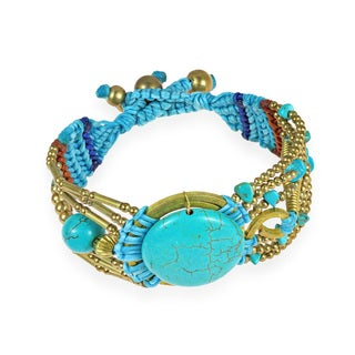 Artsy Blue Turquoise Macrame Handmade Brass Bracelet (Thailand)