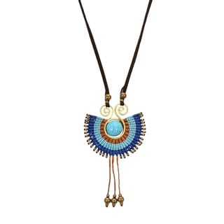 Tribal Path Turquoise Ray Macrame Suede Handmade Necklace (Thailand)