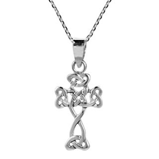 Small Trinity Celtic Cross .925 Sterling Silver Necklace (Thailand)