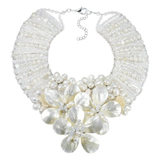Enchanted Floral Mother of Pearl and Pearl Bridal Necklace (Thailand)