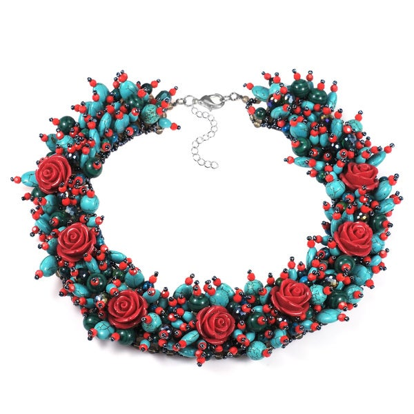 Festive Rose Garden Floral Mix Stone Statement Necklace (Thailand)