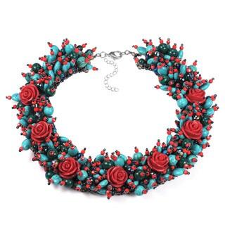Festive Rose Garden Floral Mix Stone Statement Necklace (Thailand)