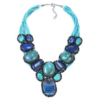 Mystique Blue Treasure Mosaic Oval Agate Statement Necklace (Thailand)