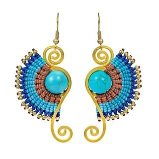 Turquoise Multi Macrame Swirl Brass Artsy Dangle Earrings (Thailand)