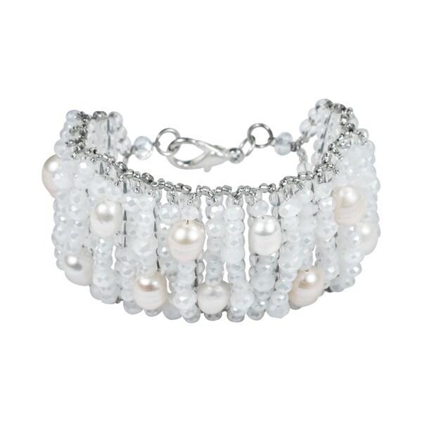 Sublime Allure Pearl Embellished Crystal Wide Bracelet (Thailand)